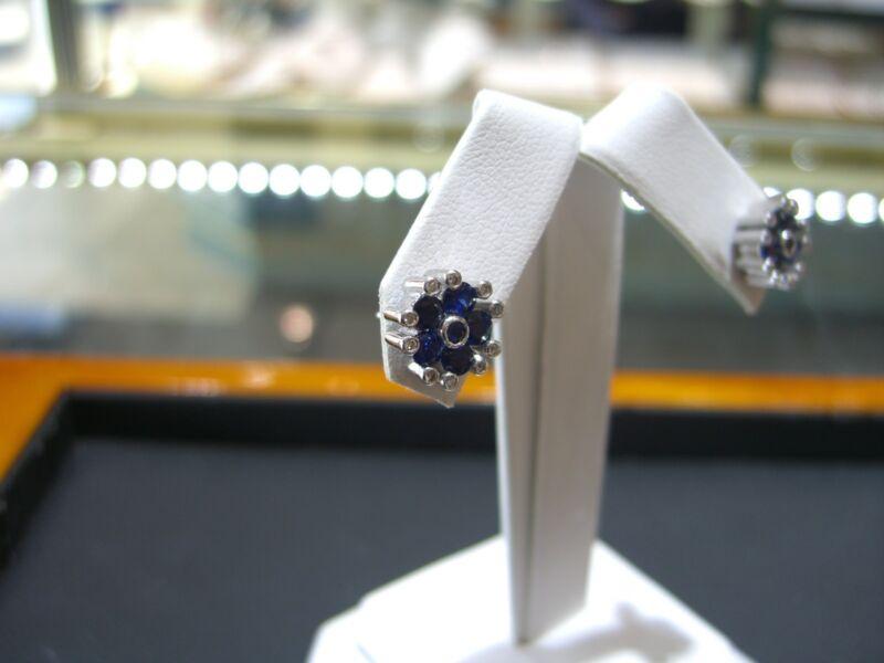 Fine Womens Stud Earrings Diamond And Sapphire 14 Karat White Gold New Wow!