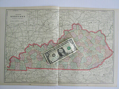 1839 KY MAP Middlesborough Middletown Monticello Morehead Kentucky History HUGE