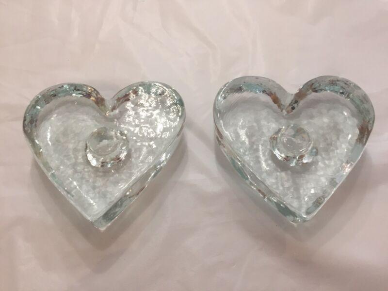Lot of 2 Recycled Clear Glass Heart Shaped Candlestick Holders
