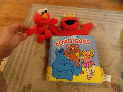 "Lot SOFTPLAY 14"" ELMO SAYS Sesame Street HAND PUPPET Soft BOOK & Plush Tyco Doll"