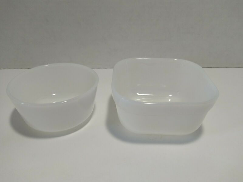 Mixed Lot Fire King Small White Custard Bowl And Square Bowl
