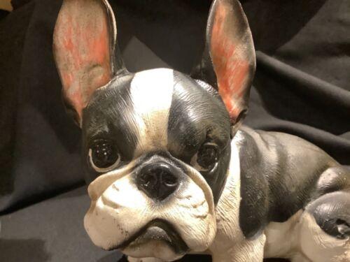 "Black & White Boston Terrier or French Bulldog Puppy 10"" Resin Statue Realistic"