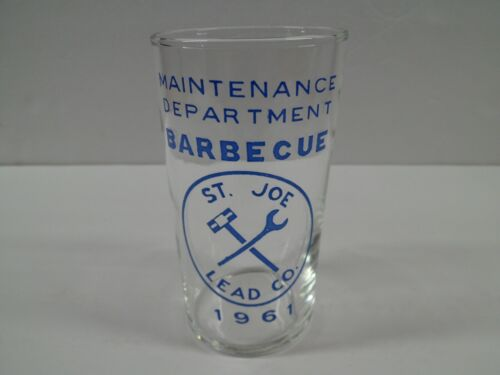 ST JOE LEAD Co Maintenance Department Barbecue Glass 1961 St Joseph Lead Mine