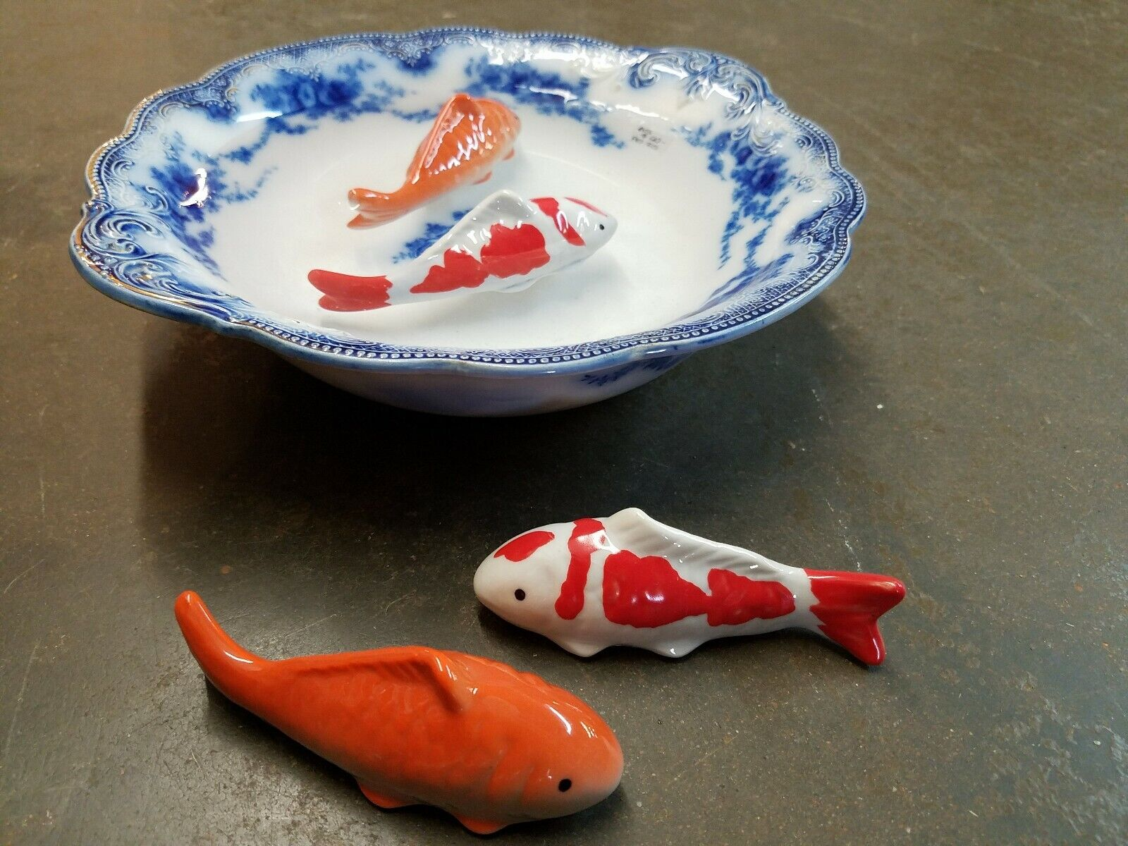 Chinosiorie porcelain Ceramic Floating Koi Fish Set ...