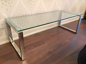 CB2 Glass and Chrome Coffee Table