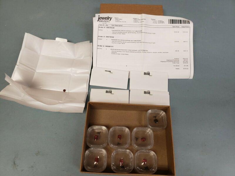 Tanzanian Red Zircon Natural Gemstone 1 Round 8mm 1.75Ct 5x .65Ct 5mm & 1 Topaz
