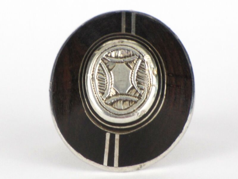 Vintage Tuareg Tribal African Ring Silver and Ebony Wood Ethnic Jewelry