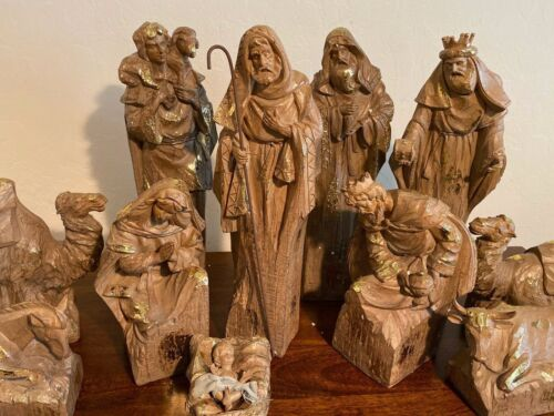 Large Nativity Set with Gold Highlights