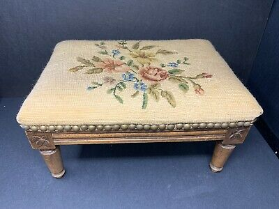 Vintage Made In Belgium Country Green Floral Tapestry Footstool