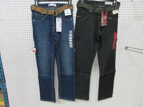 2 LEE DUNGAREES BOYS KIDS YOUTH PANTS JEANS CLOTHES SLIM 12 R BELT STRAIGHT LEG