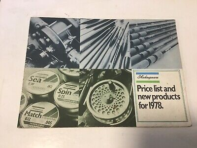 retro Shakespeare trade price list 1978 fishing tackle guide Catalogue