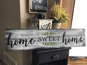 Large Home Sweet Home Rustic Farmhouse Fixer Upper Style White Wood Sign