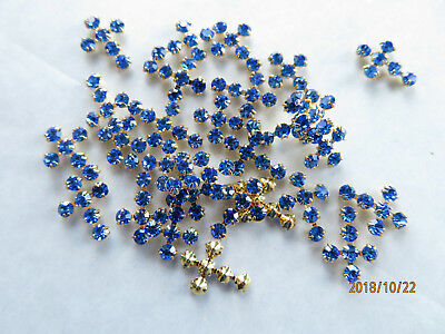 Plated Swarovski Rhinestone - J127 - 36 11x15mm Swarovski Rhinestone Cross Components - Sapphire & Gold Plated