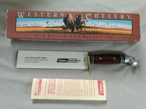 Western USA W39 Rosewood Handle Fixed Blade Hunting Knife New in Box