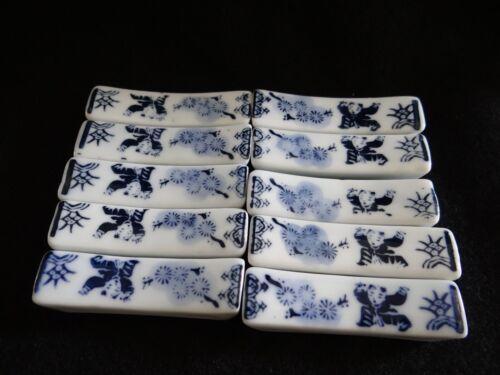 10 Vintage Porcelain Blue & White Chopstick Rests Japanese Ceramic Asia