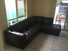 Brown Leather (imitated) L shaped Lounge Helensvale Gold Coast North Preview