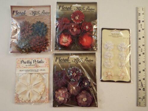 5 NEW-lot-PETALOO FLORAL EMBELISHMENTS-FLOWERS-RECOLLECTIONS-CLOTH-PEARLS-PETAL*