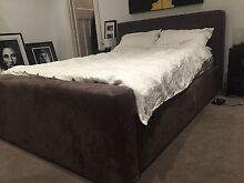 Queen bed frame with bed head in microsuede! Kooyong Stonnington Area Preview