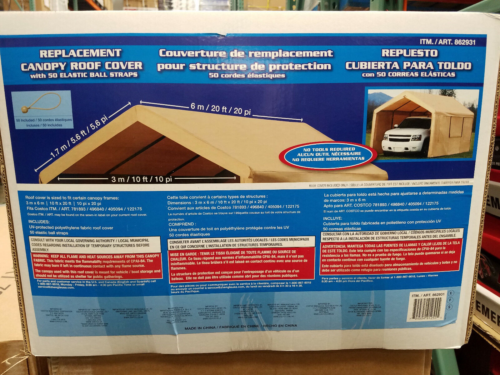 COSTCO 10 x 20 foot HEAVY DUTY CANOPY REPLACEMENT TOP COVER