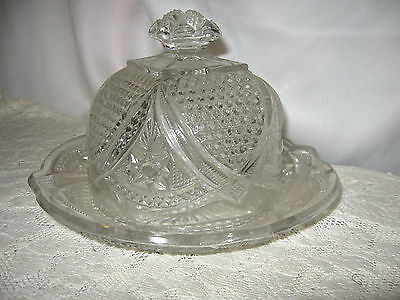 EARLY AMERICAN PATTERN GLASS COVERED BUTTER CHEESE DISH & LID Hobnail & Stars for sale  East Stroudsburg