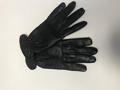 CARA BY GATCO BLACK LEATHER GLOVES WITH TAN CASHMERE INTERIOR SZ L