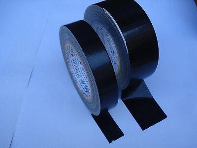 Rollos Adhesiva Negro de Tela Ancho 25mm y 48mm Removible la Mano...