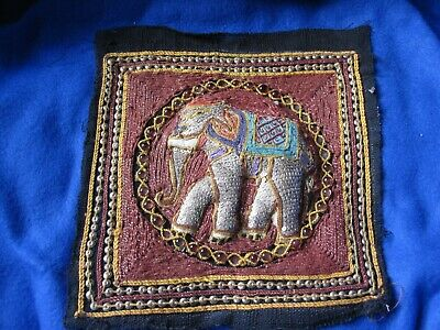HAND BEADED & SEQUIN ELEPHANT ASIAN TAPESTRY SQUARE #4