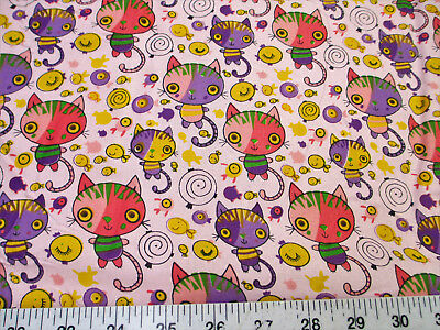 Discount Fabric Quilting Cotton Pink, Purple and Yellow Cats and Fish K400 - Pink Discount
