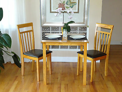 3 Pc Dining Room Kitchen Set Square Table and 2 Warm Chairs in Maple Finish