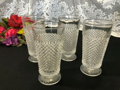 "Set of 4 Westmoreland ""English Hobnail - Clear"" Footed Tumblers 12 oz."