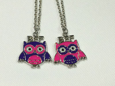 BFF Best Friend Bright Pink owl & Purple Owl Charm 2 Necklaces, 2 Pendants