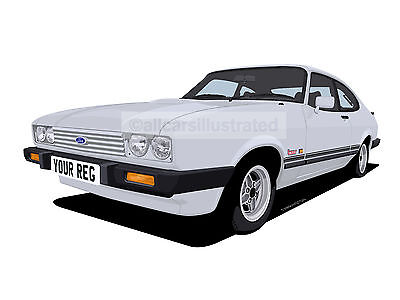 FORD CAPRI LASER GRAPHIC CAR ART PRINT PICTURE (SIZE A4). PERSONALISE IT!