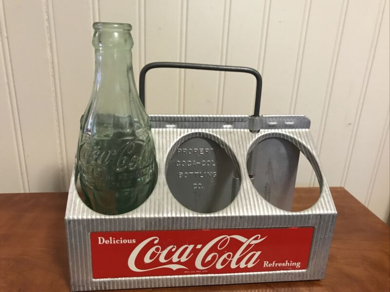 Vintage 1950's COCA-COLA METAL 6 PACK CARRIER Advertising Coke GREAT CONDITION