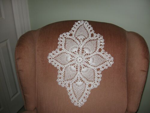 New Handmade Crocheted White Oval Pineapple Doily