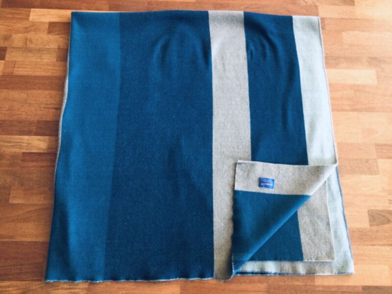 "Pendleton Wool Throw Blanket Blue & Green Striped 80"" X 80"""
