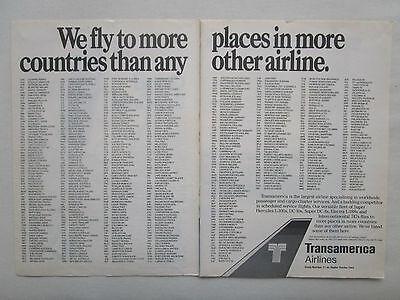 11/1980 PUB TRANSAMERICA AIRLINES PASSENGER CARGO SERVICES
