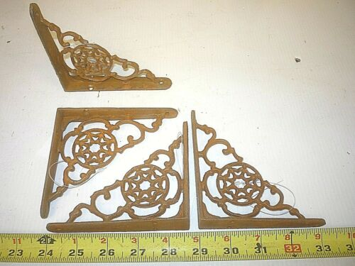 4 SMALL OLD ANTIQUE STYLE SHELF BRACKET  , HALL TREE BASE CRAFT PORCH CORBEL