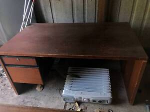 Old but steady table, desk, lamp and office chairs