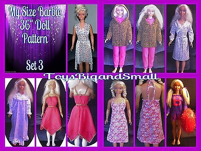 Set 3 - 7 Pattern Set Wardrobe for My Size Barbie Dolls