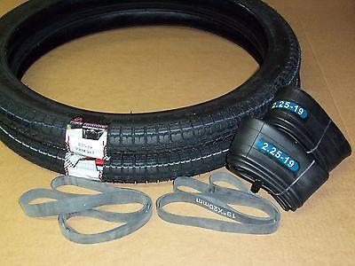 2x Reifen Schlauch Felgenband Set 2,25 x 19 Zoll für Simson SR2 E Mofa Moped