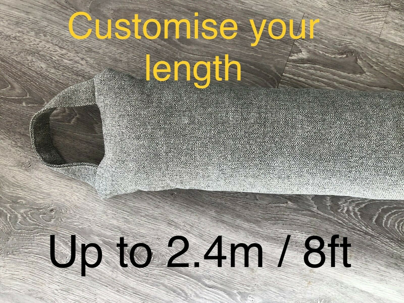 XLong GREY draught excluder /<3ft TO 8ft door snake draught blocker draft stopper
