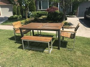 Outdoor wooden patio table, 2 chairs and 2 benches