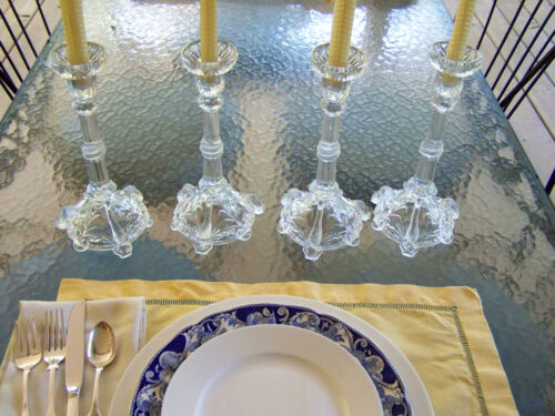 20 CENTURY TALL GLASS CANDLESTICKS FISH AND EEL MOTIF SET OF 4 - rare and cool
