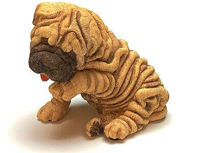 SHAR PEI PUPPY DOG Figurine Statue Hand Painted Resin Living Stone (Shar Pei Dog Figurine)