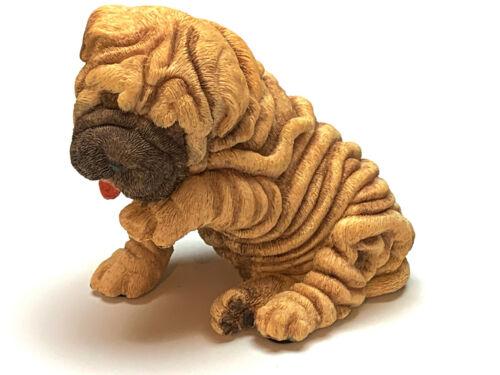 SHAR PEI PUPPY DOG Figurine Statue Hand Painted Resin Living Stone