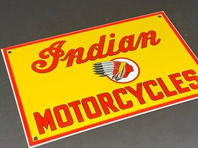 "VINTAGE INDIAN MOTORCYCLE PARTS SERVICE 12"" X 8"" PORCELAIN METAL GAS & OIL SIGN"