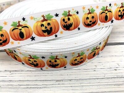 Grosgrain Ribbon Fall Halloween Pumpkin 7/8 Printed USA SELLER - Halloween 7