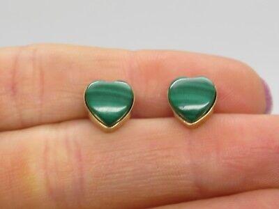 - 14k Yellow Gold 8.5mm Heart Polished Green Malachite Stone Pierced Stud Earrings