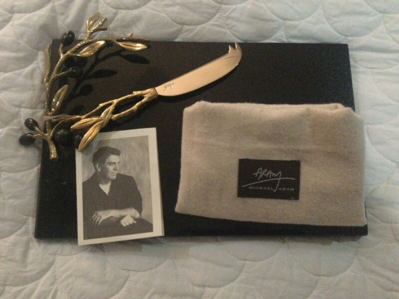 MICHAEL ARAM OLIVE BRANCH GOLD CHEESE BOARD W/KNIFE 175120. New. Unused.