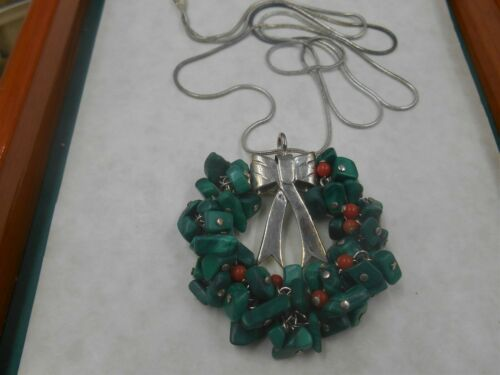 UNIQUE HANDMADE STERLING SILVER GEMSTONE CHRISTMAS HOLIDAY NECKLACE LOVELY